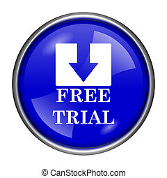 Free trial icon - Round glossy icon with white design on...