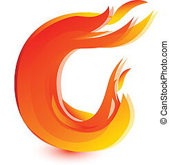 Fire C letter image design vector
