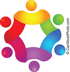 Teamwork concept in 6 colors logo