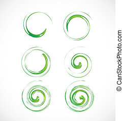 Set of swirly green waves