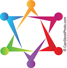 Teamwork people union star logo - Teamwork people union icon...