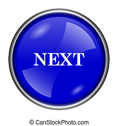 Next icon - Round glossy icon with white design on blue...