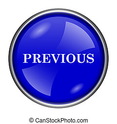 Previous icon - Round glossy icon with white design on blue...