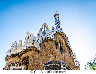 park guell tourist attractions in Barcelona, ??Spain.