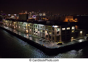 Boston Ship Port - Night view of the Boston Massachusetts...