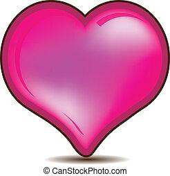 Glossy pink Valentines heart logo
