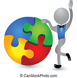 3D person solving puzzle logo - 3D person figure solving...