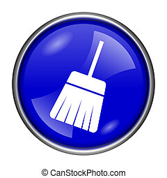 Sweep icon - Round glossy icon with white design on blue...