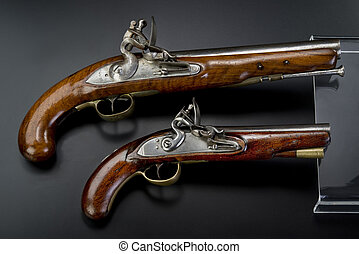 18th Century British Flintlock Pistols - A pair of 18th...