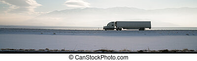 Long Haul Trucker White Light Polution Salt Flats Utah...