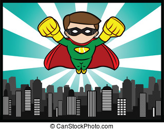 Little Hero Flying - A cartoon illustration of a flying...