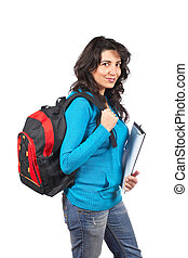 Student woman with backpack - Young student woman with a...