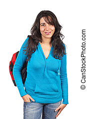 Young student woman with a black backpack on white...