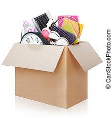papelão, caixa, em movimento, Dia, conceito
