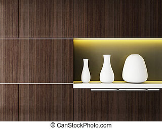 vase on white shelf interior design
