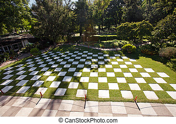 area in the form of chess in the Japanese garden