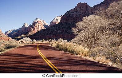 Road Sunrise High Mountain Buttes Zion National Park Desert...
