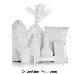 white Package Box for food products isolated over white...