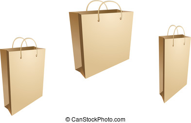 Isolated shopping bags - Three isolated shopping bags on the...