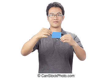 Happy smiling business man showing blank businesscard