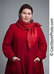 fat woman in red coat