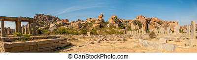 Ruins in Hampi Complex - Panorama View