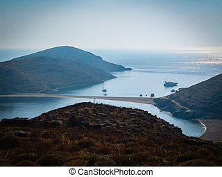 isthmus at the Greek island Kythnos. Aegean sea - sandy...
