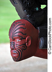Moari canoe figurhead, Waitangi, NZ - figurehad on a carved...