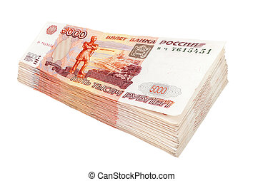 Stack of russian rubles bills isolated on white background