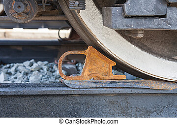 Freight car is secured with brake shoe