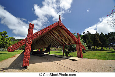 Maori war canoe at Waitangi NZ - Carved moari war canoe at...