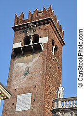 Piazza delle Erbe, tower of Verona, Italy