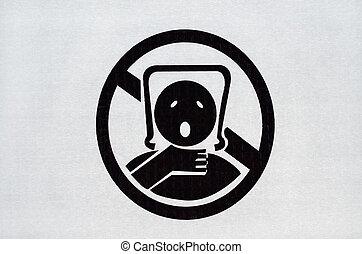 bolsa, advertencia, señal, plástico