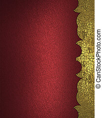 Red background with gold cutout. Design template