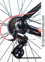 mountain bike cassette on the wheel with chain of close up
