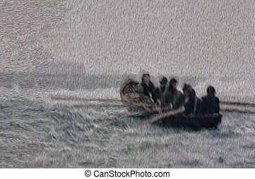 Wind, Sea, Rain and Rowing - Men in a boat face a stormy sea
