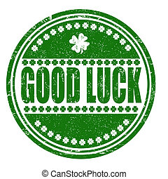 Good luck stamp - Good luck grunge rubber stamp on white,...
