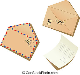 Letter and envelopes on the white background