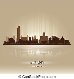 Albany New York city skyline vector silhouette illustration