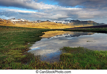Nice mountain Iceland country