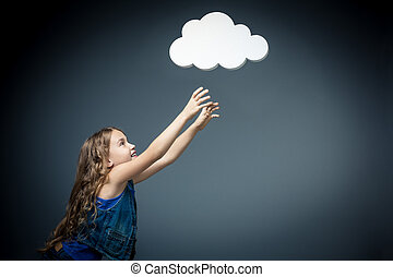 Dreams - Little girl stretches to bubbles