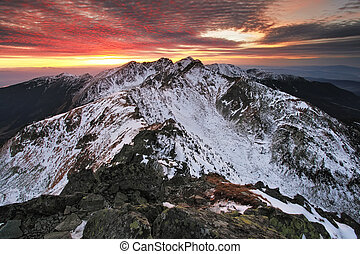 Mountain sunrise in Tatra