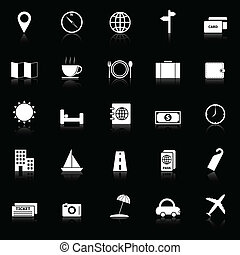Travel icons with reflect on black background