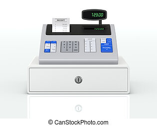 cash register - front view of a cash register with receipt...