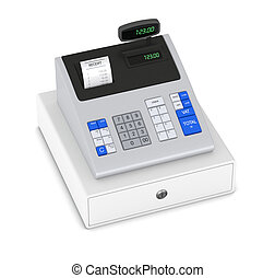 cash register - top view of a cash register with receipt (3d...