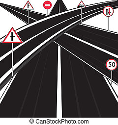 Much roads and traffic signs on white background