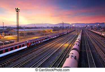 Cargo freight train railroad station - Cargo freigt train...