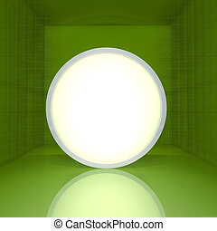 Blank rounded box display on green empty room - Blank...