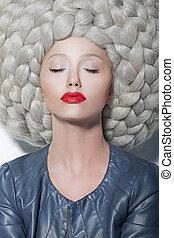 Fantasy. Creativity. Portrait of Trendy Woman in Futuristic...