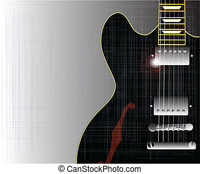 Old Grunge Blues Guitar - A black semi acoustic type guitar...